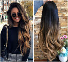 Ombre Half Head Wig Long Straight Wavy 3 4 Weave Brown Blonde Black Grey