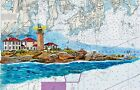 BEAVERTAIL LIGHTHOUSE Nautical Chart Art Print Sail Narragansett Bay RI Gift Sea