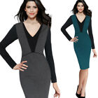 Womens Elegant Color-Blocked Patchwork Contrast Work Business Party Sheath Dress