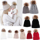 2PSC Mom&Newborn Baby Boy Girl Winter Warm Fur Pom Bobble Knit Beanie Hat Caps