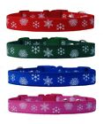 red green pink blue CHRISTMAS SNOWFLAKE'S medium breed dog puppy collar or set
