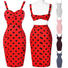 Belle Poque Vintage POLKA DOT 1950s Red White Evening PENCIL Pinup Wiggle Dress