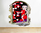 M159 Betty Boop Red Hearts Living Smashed Wall Decal 3D Art Stickers Vinyl Room £19.99 GBP