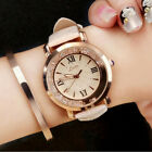Women Fashion Leather Stainless Steel Sport Analog Quartz Wrist Watch Waterproof