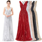V-NECK Long Sequins Carpet Evening Party Dress Formal Prom Bridesmaids Ballgown