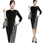 Womens Asymmetric Check Plaid Colorblock Contrast Work Casual Pencil Dress