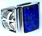 Mens Lapis Gem Sterling SILVER Ring Eagle logo Blue Gem 925 Ring NEW All Sizes