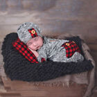US Stock Newborn Baby Boy Girl Christmas Romper Bodysuit Clothes Outfit Set +Hat