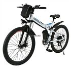 26FT Wheel Folding Electric Mountain Bike Bicycle Ebike W/ Lithium Battery 250W