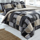 Remi Reversible Abstract Patchwork Duvet Quilt Cover Bedding Set Black Gold Grey