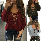 New Sexy Women Casual Loose Long Sleeve Lace Up V Neck Shirt Tops Blouse