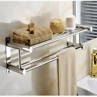 Double Towel Rail Holder Wall Mounted Bathroom Rack Shelf Stainless Steel xxf
