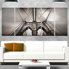 Designart 'Brooklyn Bridge in NYC USA' Extra Large Cityscape Glossy Metal Wall