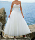 New Vintage Ivory/White Lace Ankle Length wedding dress bridal gown Size 6-18 +