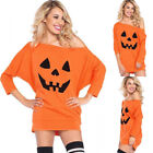 Women Stylish Long Sleeve Cold Shoulder Pumpkin Pattern Loose T-shirt Blouse Top