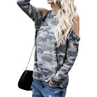 Fashional new  Womens Long Sleeve Cut out Cold Shoulder Camouflage Tee Tops