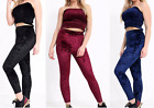 New Ladies Crushed Velvet Velour Sheering Boob Tube Crop Top Leggings Loungewear