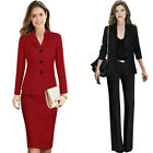 Women Notch Floral Lapel Pocket Button Work Business Party Outwear Jacket Blazer