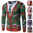 Men's Christmas Xmas 3D Printed Long Sleeve Casual T-Shirt Tops Tee Shirts M~2XL