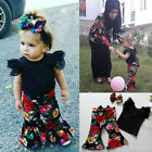 Kids Baby Girls Lace T shirt+Flower Pants Bellbottoms 3pcs Outfits Set Clothing