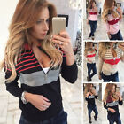 Women Long Sleeve V Neck Knitted Sweater Striped Casual Zip Jumper Pullover Tops