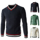 Fashion Men V-neck Slim Fit Cardigan Sweater Pullover Knitted Sweater Jumper Top