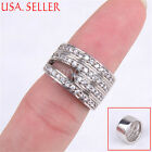 925 Sterling Silver Multiple Row Hollow Crystal MicroPave 10mm wide Ring Z502