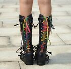 Fashion Hollow Out Sheep Leaher Low Heel Riding Punk British Knee High Boots New