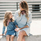 Mother And Daughter Girl's Casual Denim Shirt Skirt Long-Sleeved Dress Clothing