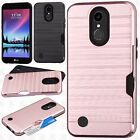 For LG K20 Plus Brushed Hybrid Card Case Phone Cover Accessory +Screen Protector