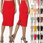 TheMogan S~3X 4 Way Stretch Curvy Ponte High Waist Knee Length Midi Pencil Skirt