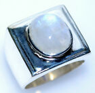 Mystic Moonstone Sterling SILVER Ring Mens Solid 925 Signet Rings Size L to V
