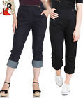 HELL BUNNY CHARLIE rockabilly charly BLUE cropped DENIM CAPRIS JEANS
