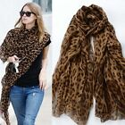 Fashion Ladies' Women Large Brown Animal Leopard Print Crinkle Soft Scarf Shawl