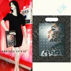 CARRIER BAGS LADY LEPARD DESIGN - BLACK PRINTED BAGS STRONG PLASTIC 10x14in