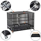 37 42 48 Heavy Duty Metal Dog Crate Cage Square Tube Pet Kennel Collapsible