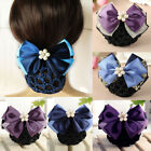 Barrette Pearl Hair Clip Womens Net Bowknot Hairpin Satin Accessories Bun Snood