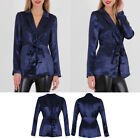 Women Collared Satin V Neck Front Knot Long Sleeve Blouse Party Blazer Top UK