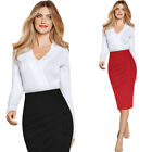 Womens Pleated Ruched Buttons High Waist Work Casual Party Bodycon Pencil Skirt