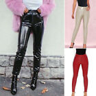 Women Sexy High Rise Motor Trousers Ladies PU Leather Bodycon Slim Fit Pants S-L