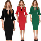 Womens Sexy Deep V-Neck Bell Sleeve Business Cocktail Party Bodycon Sheath Dress