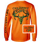 Country Life Outfitters Orange Camo Realtree Deer Skull Head Hunt Vintage Unisex