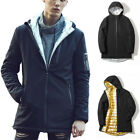 Mens Padded Jackets Hooded Trench Coats Casual Office Gentlemen Outwear Tops New