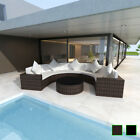 Vidaxl Garden Half-round Sofa Outdoor Furniture Set Poly Rattan Brown/black