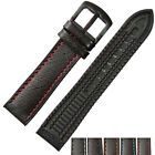 22mm Black Genuine Leather Rubber Replacement Watch Strap Band Black PVD Buckle