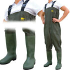 Double PVC Layer Waterproof Chest Coarse Fly Fishing Waders Size 7 8 9 10 11 12