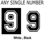 Iron On Single Football Number High Quality Football Shirt Numbers White & Black
