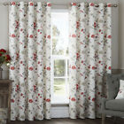 Anya Floral Flower and Brids 100% Cotton Eyelet Ring Top Lined Curtains