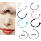 2pcs Stainless Steel Open Lip Nose Ring Nose Hoop Piercing Nose Stud 2 Size EW