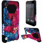 HTC Desire 555 Turbo Layer HYBRID KICKSTAND Rubber Case Phone Cover Accessory